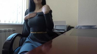 Risky office masturbation