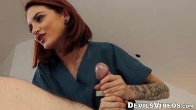 Redhead provides customer with hot sex massage