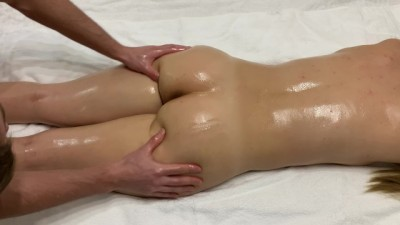 Olied anal massage with creampie for young tight girl