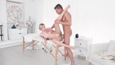 Kinky Masseur Treats Sexy Small titted Blonde with Orgasm