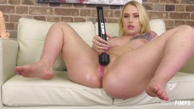 Curvy Blonde Babe  Playing Dildo