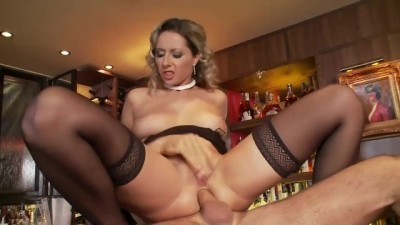 Blonde Babe Daria Fucked On A Bar Wearing Thigh
